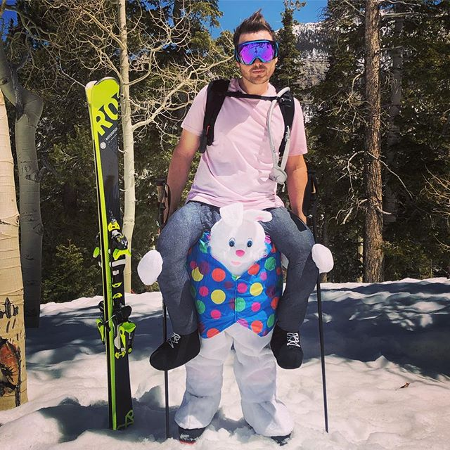 Feeling cute, might ride this Easter Bunny down a slope... or across a pond #lastdayofwinter #easterbunny #rossignol #atomic #smithoptics