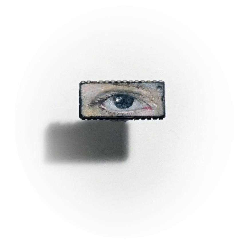 iEye , oil on microchip, 0.8 x 2 cm, 2014