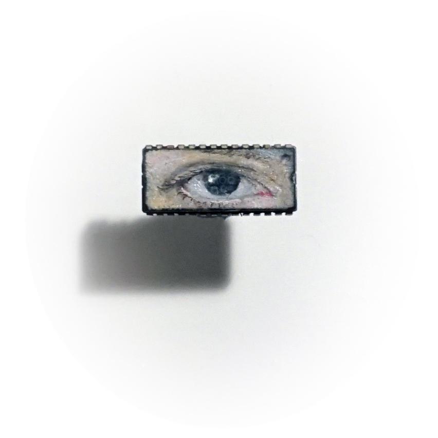 iEye, oil on microchip, 0.8 x 2 cm, 2014