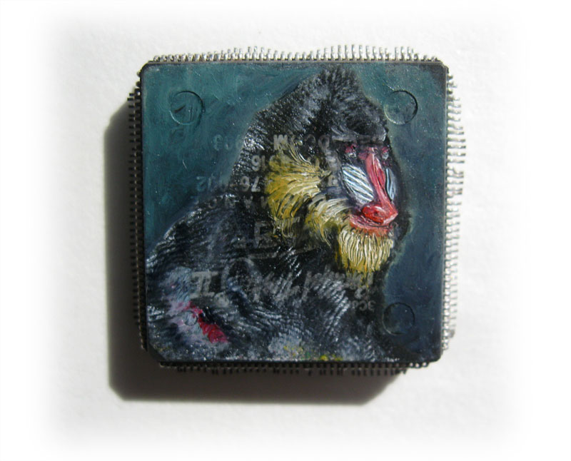 Mandrill, oil paint on microchip, 2 x 2 cm, 2012