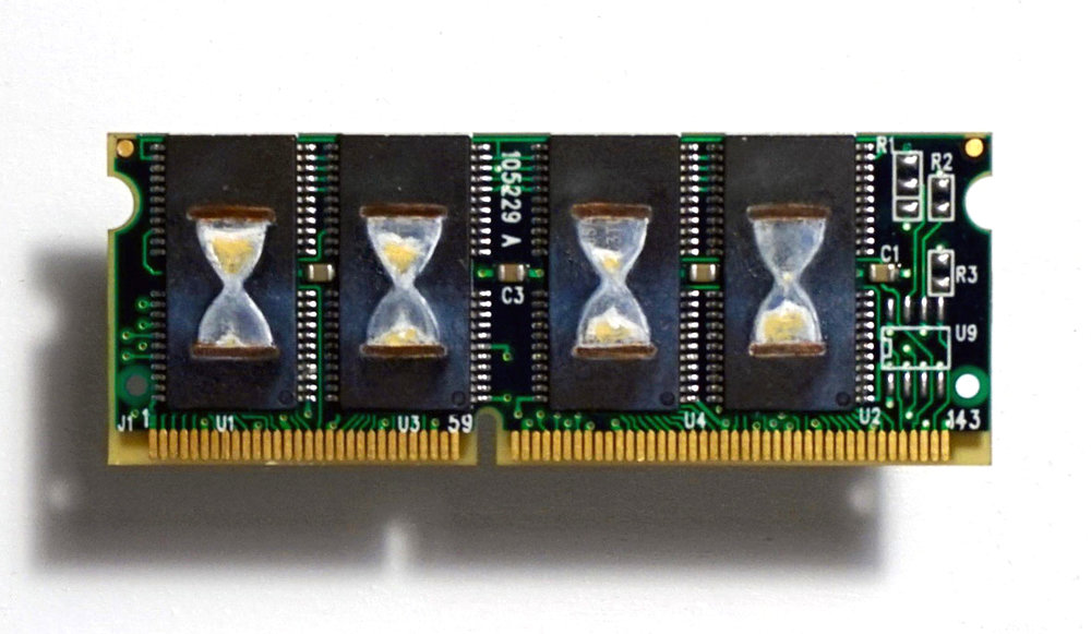 Hourglass , Oil on RAM memory stick, 3 x 8 cm, 2016