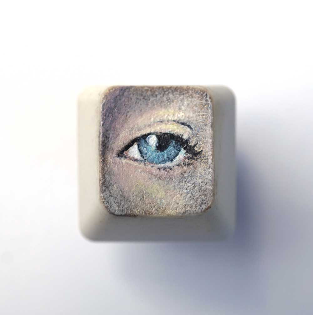 See Key,  Oil painting on computer key, 2 x 2 cm, 2017