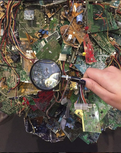 Silicon Mountain, Oil paint, metal leaf, and e-waste, 2015
