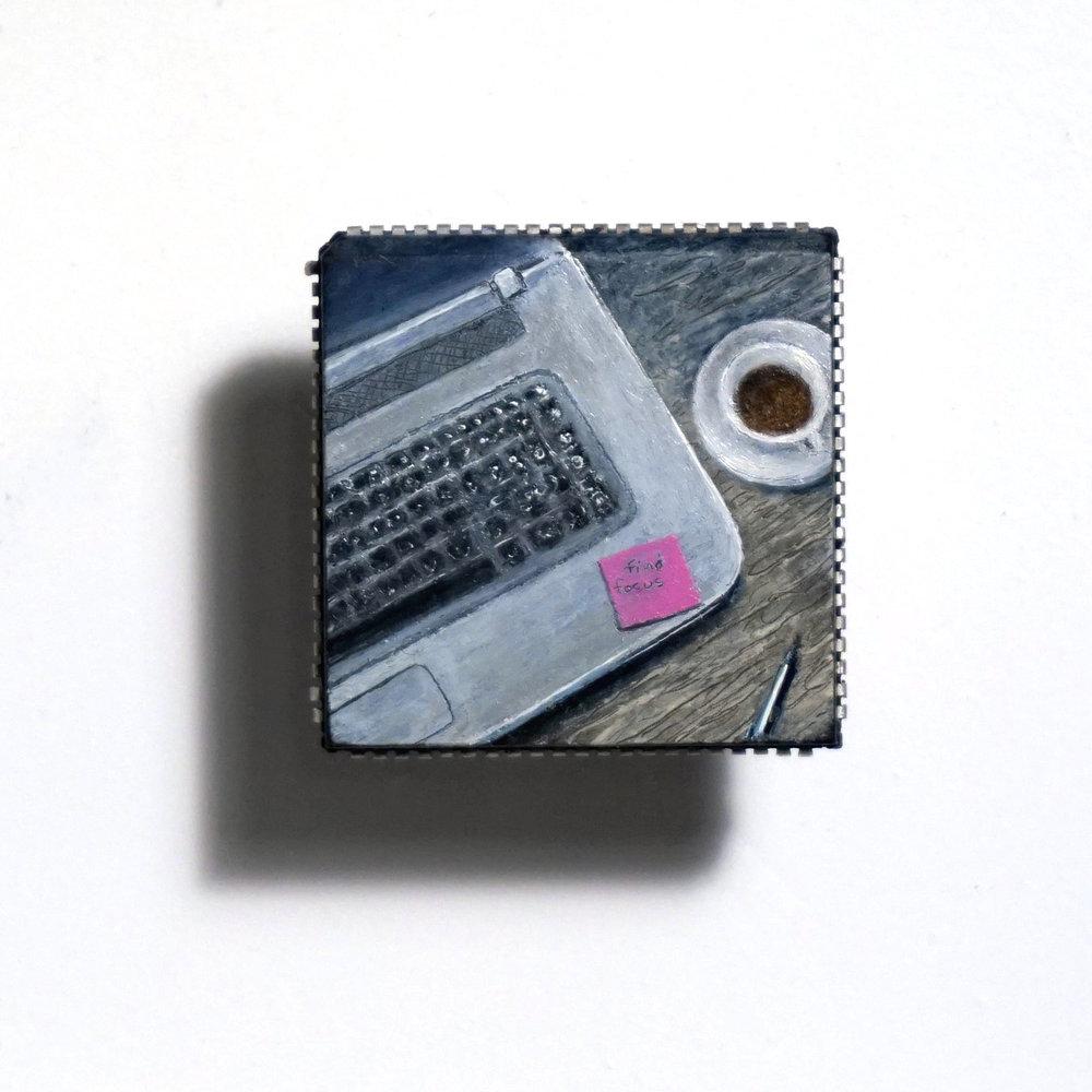 Desktop Zone (Find Focus), oil on microchip, 2 x 2 cm, 2016