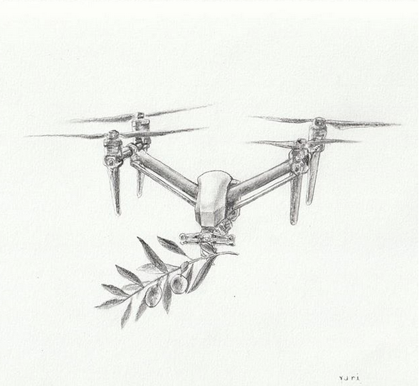 Drone of Peace , pencil on paper, 2018