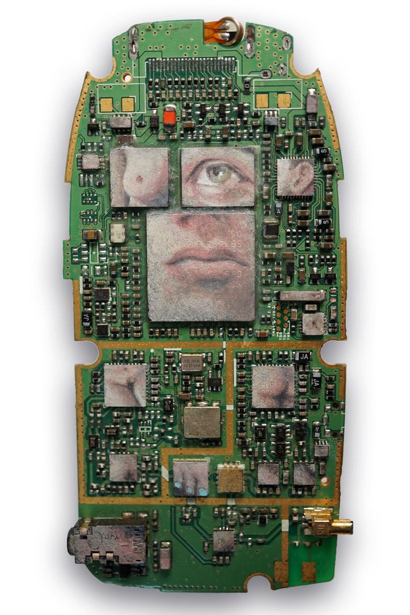 La Mariée mise a nu par son cellulaire , Oil paint on mobile phone circuit board, 2018