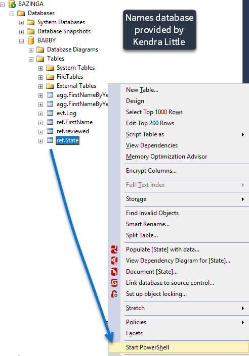 SSMS Invoking PS - this is invoked with the table context as well
