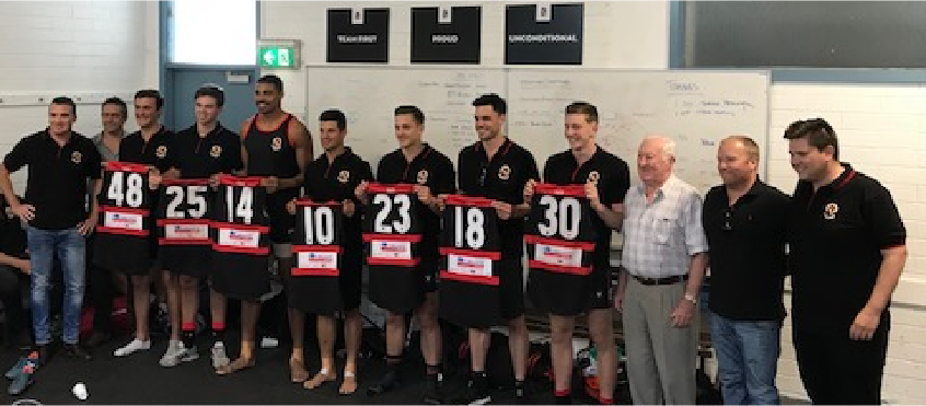 new boys get a guernsey! 1957 best and fairest winner neville gibson returns to toorak park to present grandson alex trigar with the #48