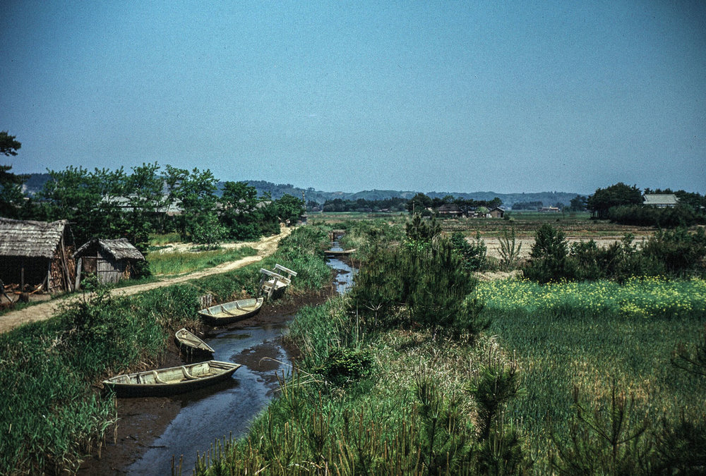 37- Narrow Waterway, Boats and Fields
