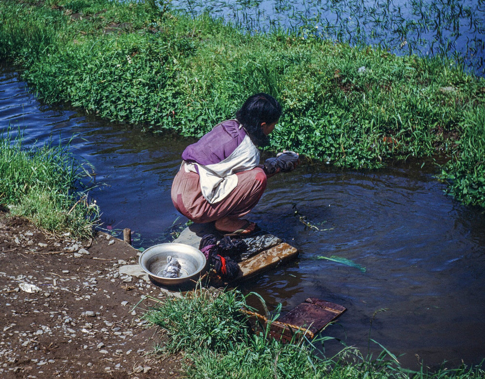 55- Woman Washing along Kitakami Canal