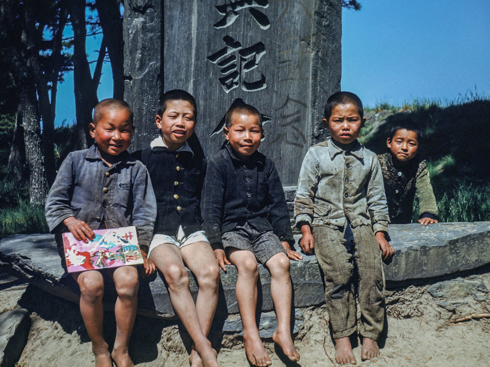 341-Five Boys Sitting at base of Monument