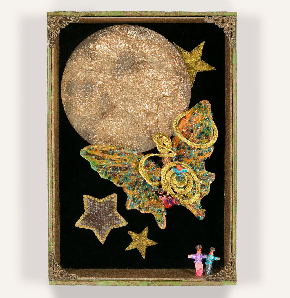 """Troubles Fly to the Moon, 6-1/2 x 9-1/2 x 2-1/4"""""""