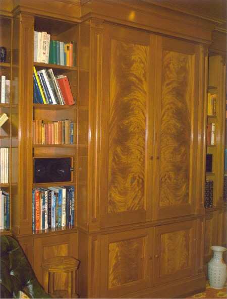 Mahogany Library with Crotch Veneer Panels