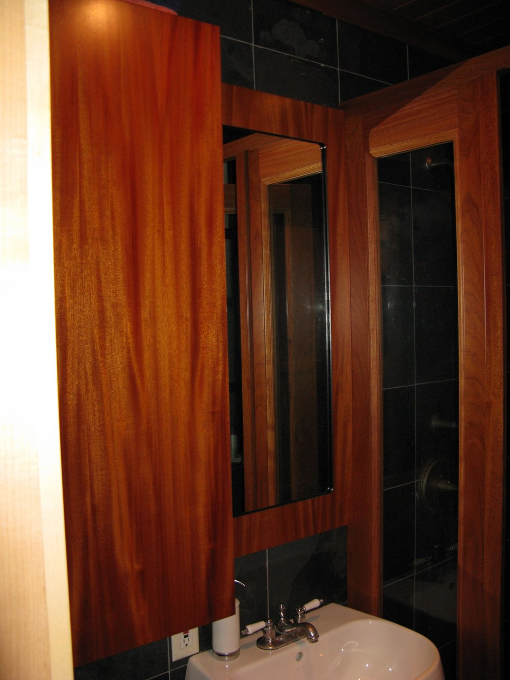 Custom Mahogany Shower & Cabinet