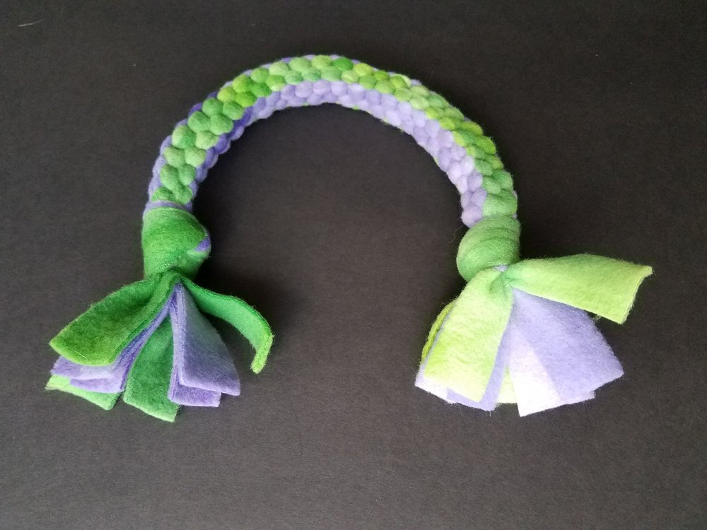 Fleece Square Knot Dog Tug Toy: Finished