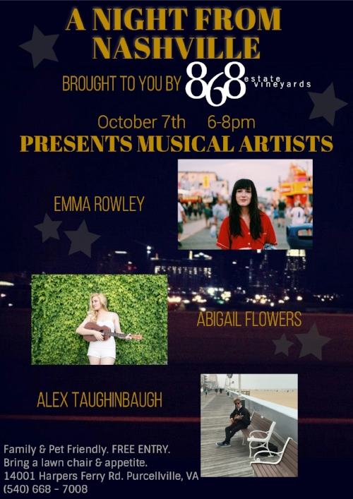 THE LINE-UP IS SET. Come out Saturday, Oct. 7th to hear Abigail Flowers, Alex Taughinbaugh and me at 868 Estate Vineyards. Please share this event with any friends and family who might be interested in hanging out at a free live music event on their Saturday night! Don't forget, 868 will have their grill fired up and all their signature wines for purchase with fire pits lit up to keep us all cozy.