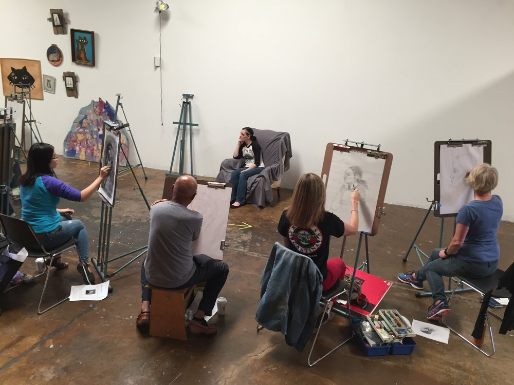 This is a photo from a portrait drawing workshop on November 5, 2017 at  Resonator Institute in Norman, OK.