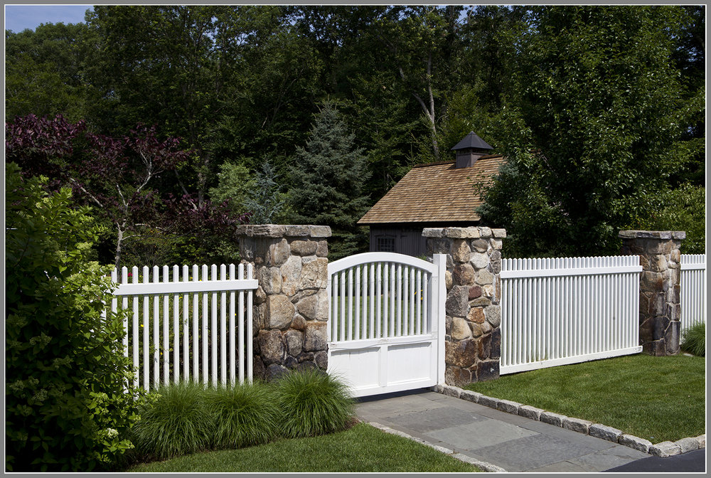 Picket Fence with stone columns
