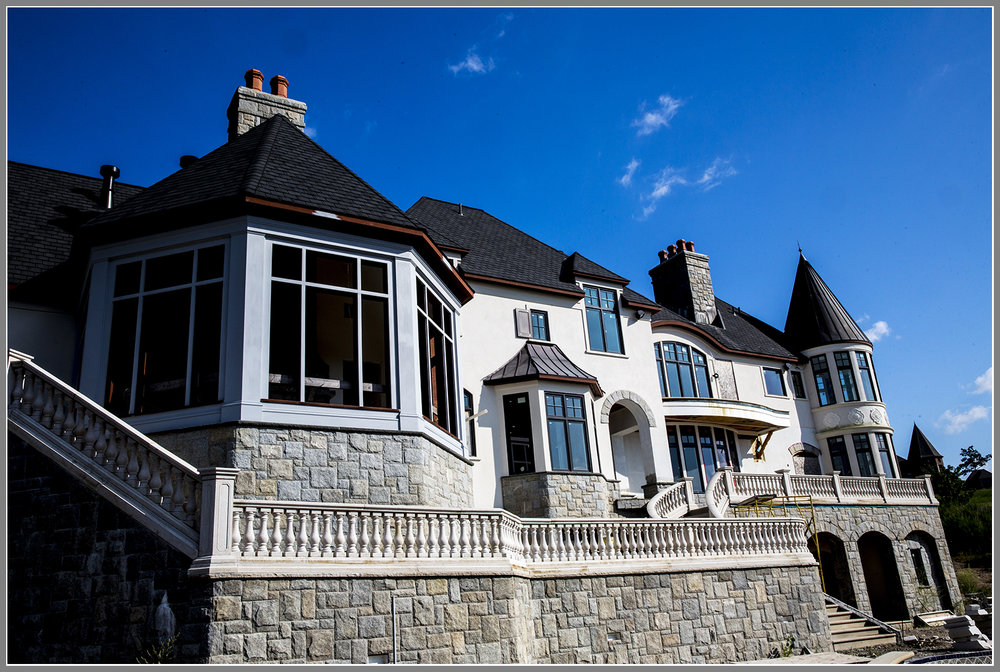 Stone veneer building facade