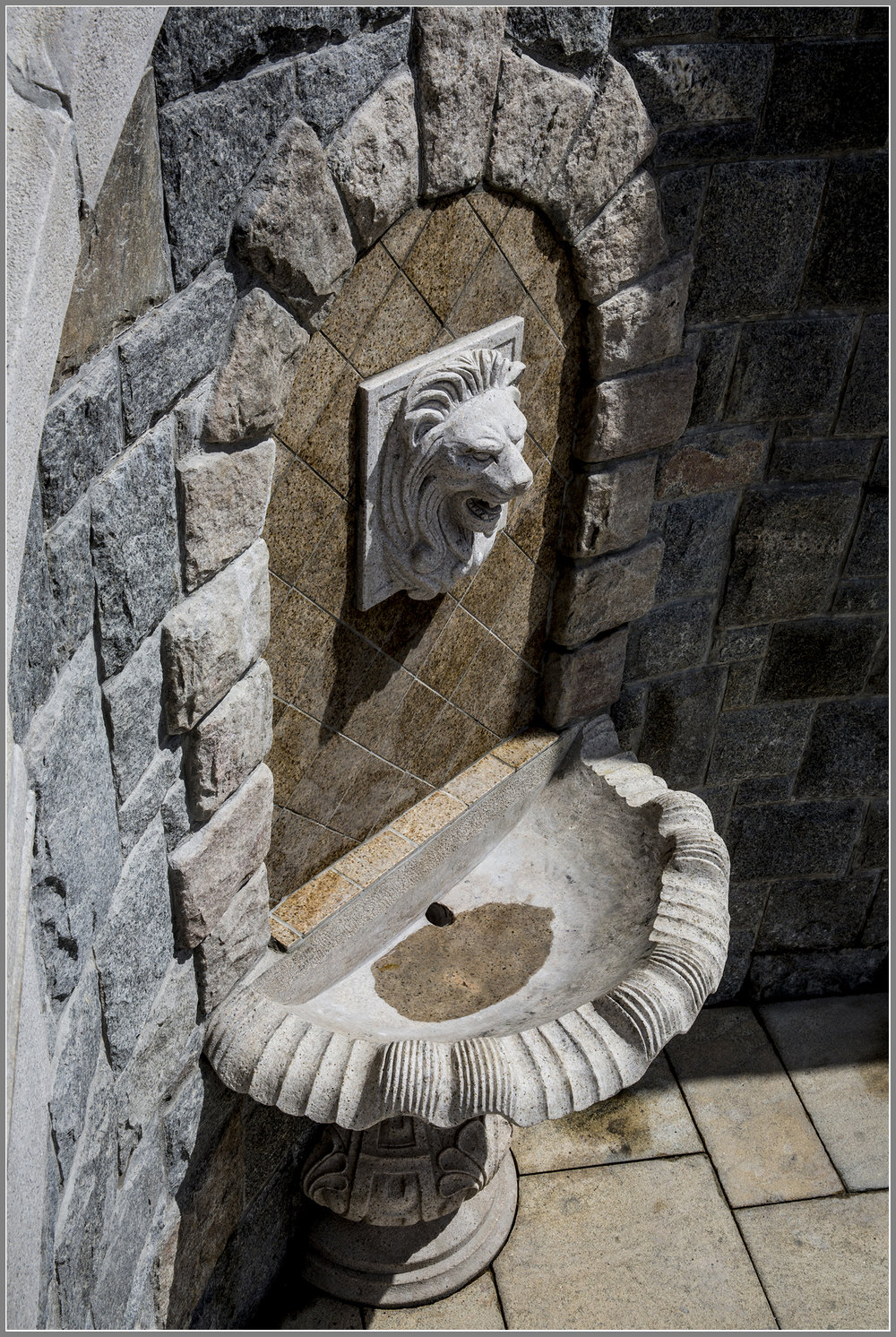 Classic stone wall fountain