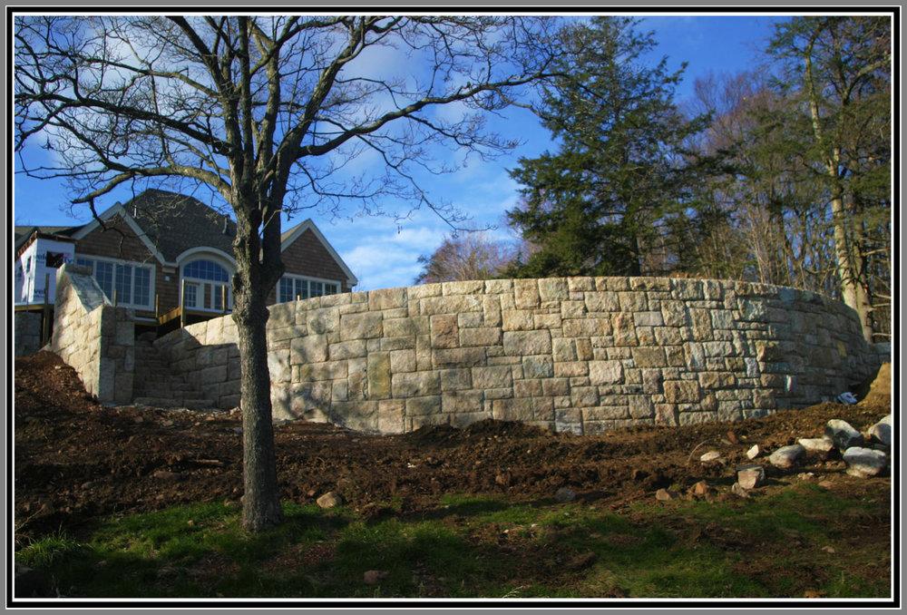 Retaining stone wall