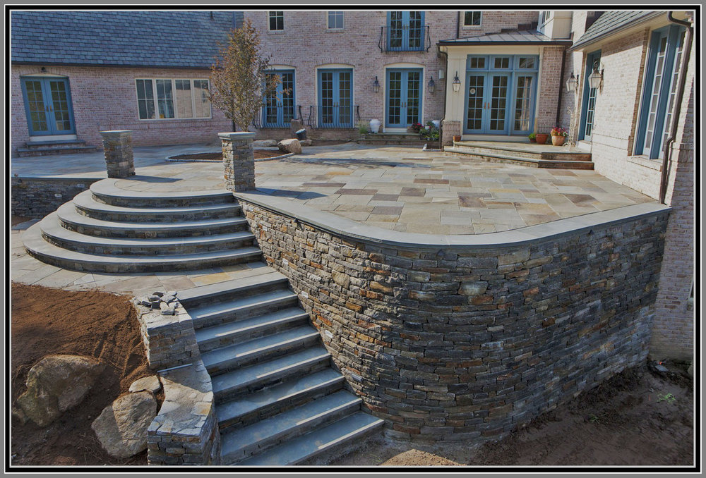 Blue stone patio and granite wall/steps