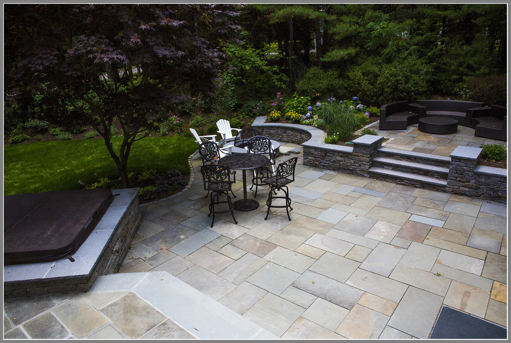 Blue stone terrace by Artistic Outdoors