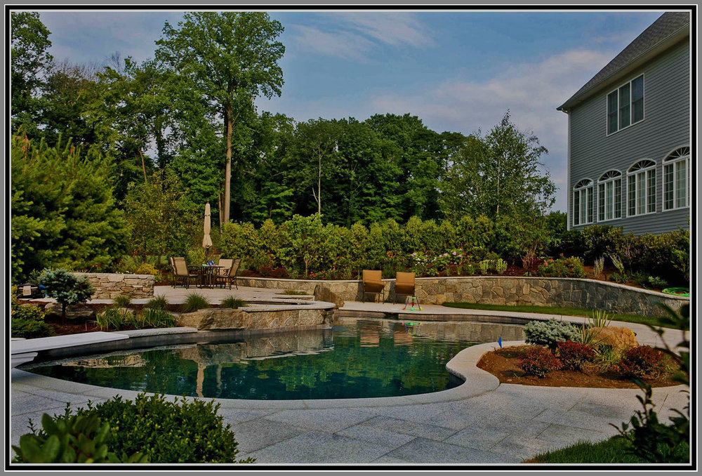 Chinese granite pool deck and stone wall