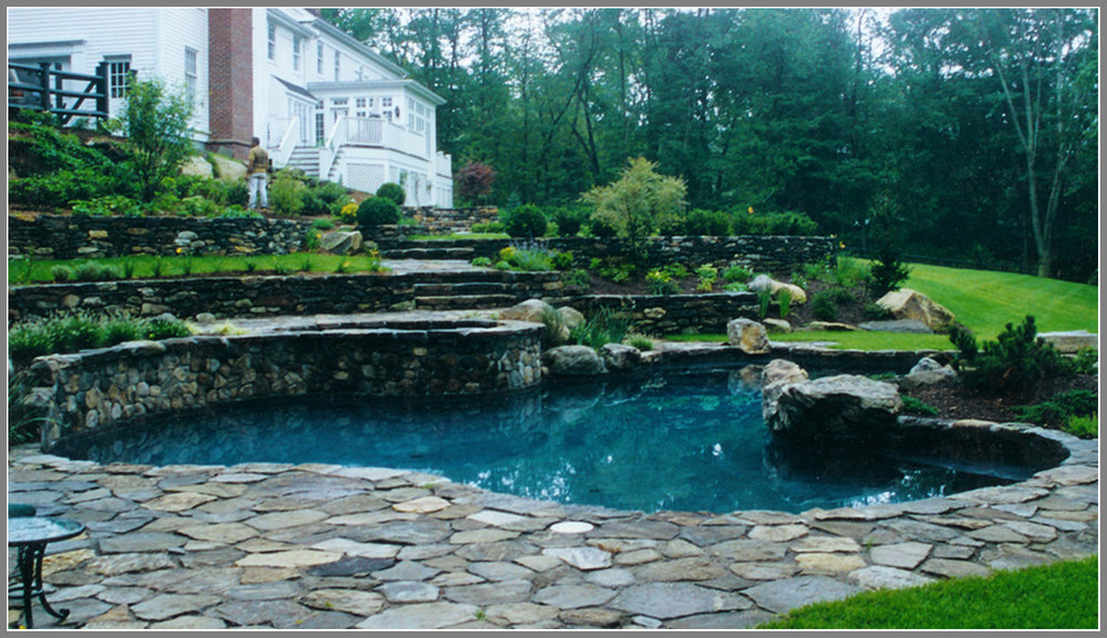 Swimming pool design with terrace