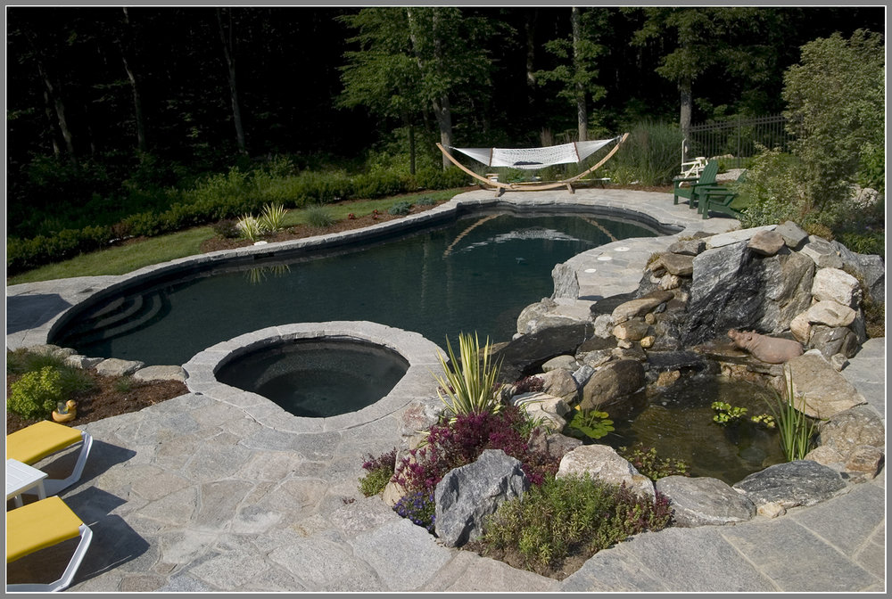 Pool design with fish pond and waterfalls an