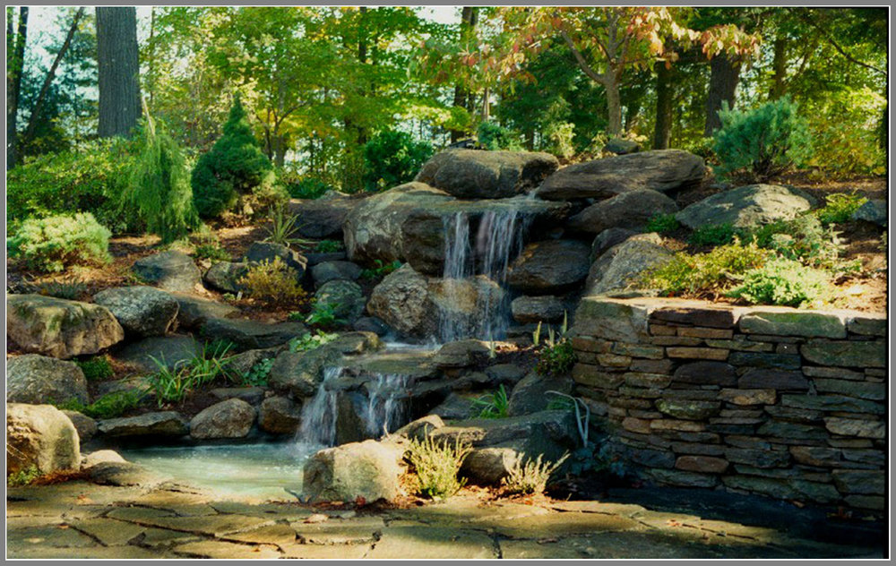 Waterfalls and pond