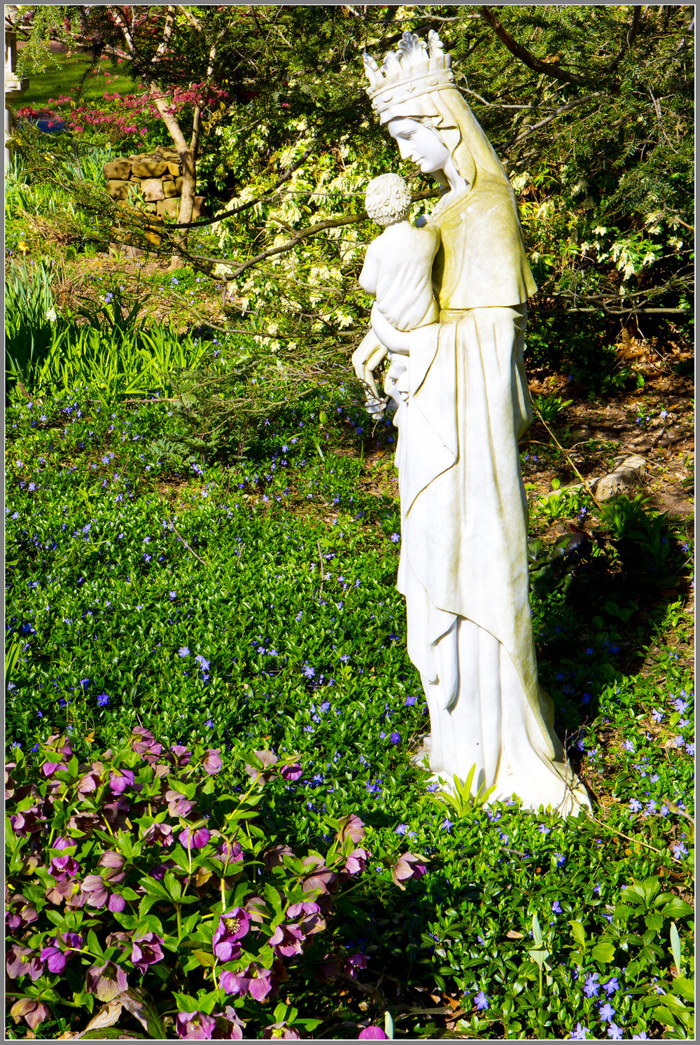 Marble Mary and child statue