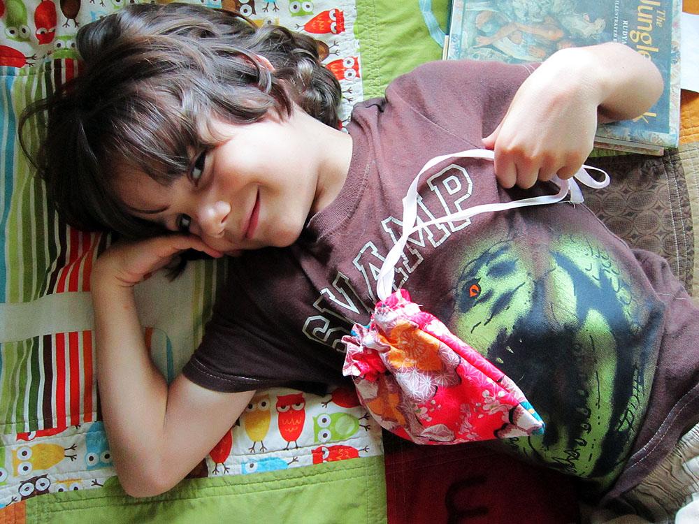 Liam's pouch, age 6