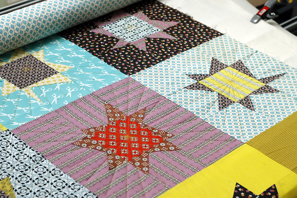 Sun Ray block quilting
