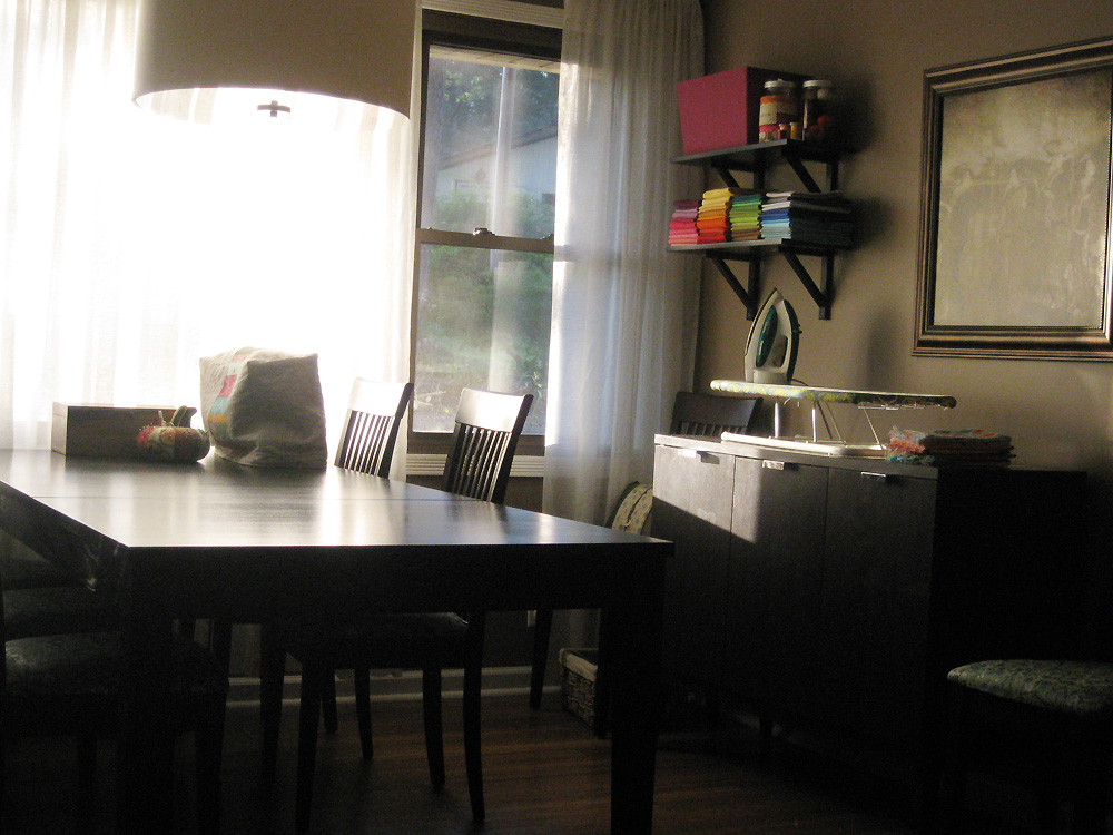 my sewing space/kitchen table, circa 2011