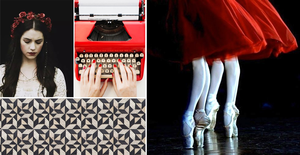 Snow White ,  typewriter ,  geometric ,  dancers .