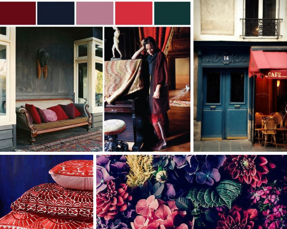 upper left collage by CocoKelley ,  street cafe ,  red pillows ,  hydrangeas