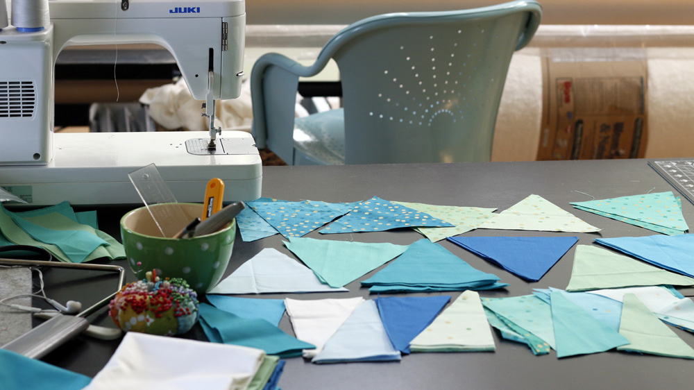 Piecing Triangle Quilt. StitchedinColor.jpg