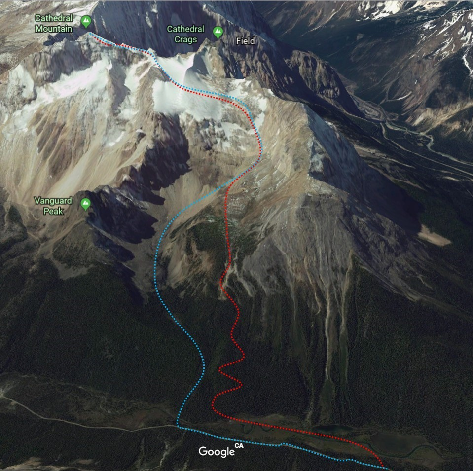 Ascent of the Bushwhack route (red) and descent via the South Couloir (blue). (Approximate routes drawn in).