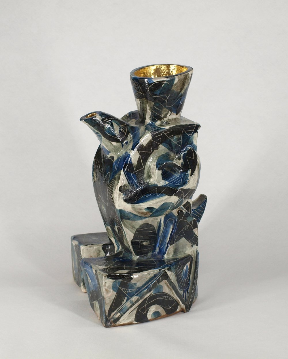 Gold-glazed Blue Line Pot / 金彩ブルーラインポット