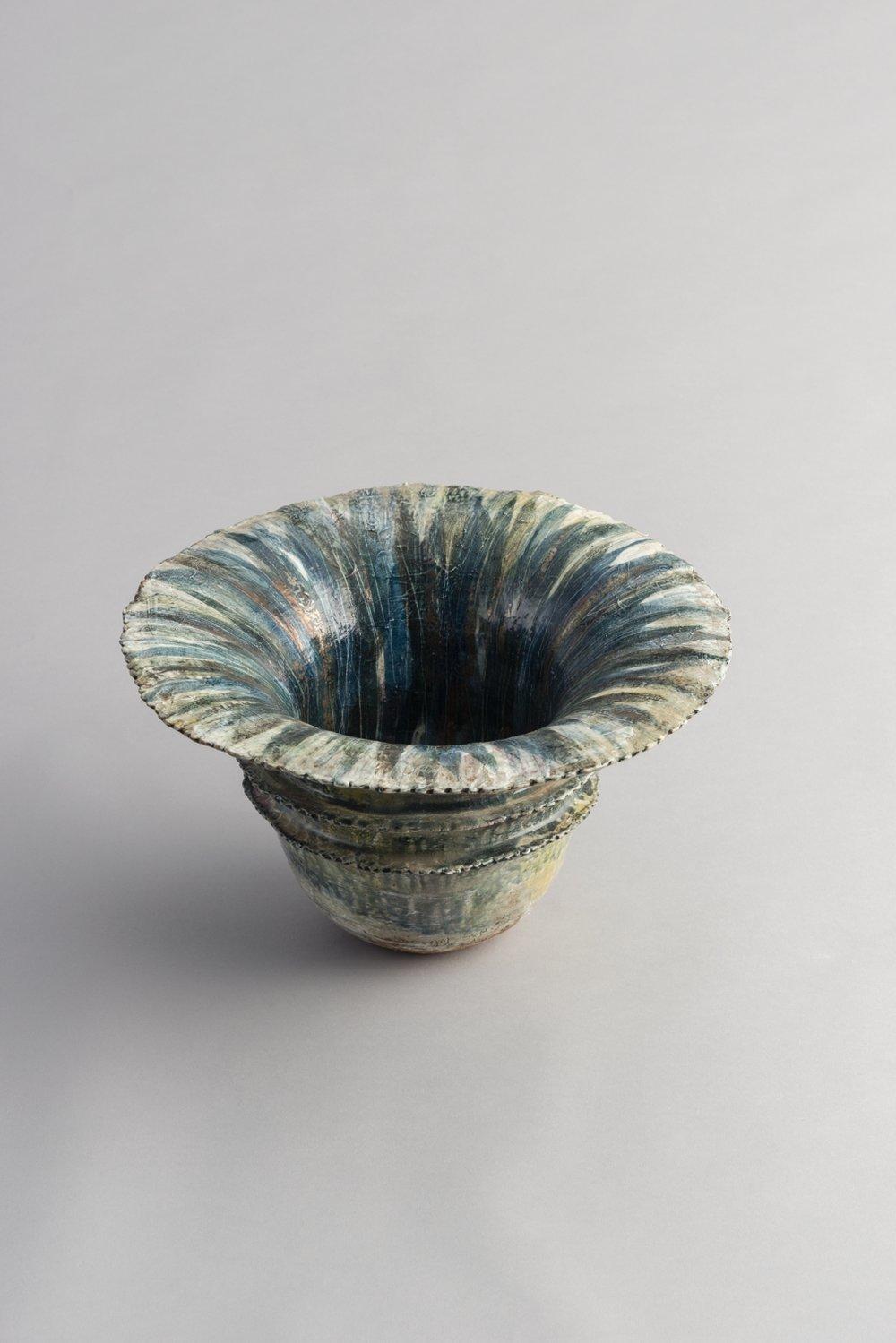 Gold-Silver-Glazed Vase / 染付金銀彩花器