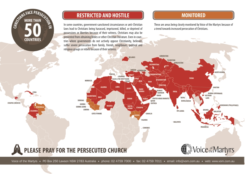 Map highlighting the countries in the world that are under persecution.