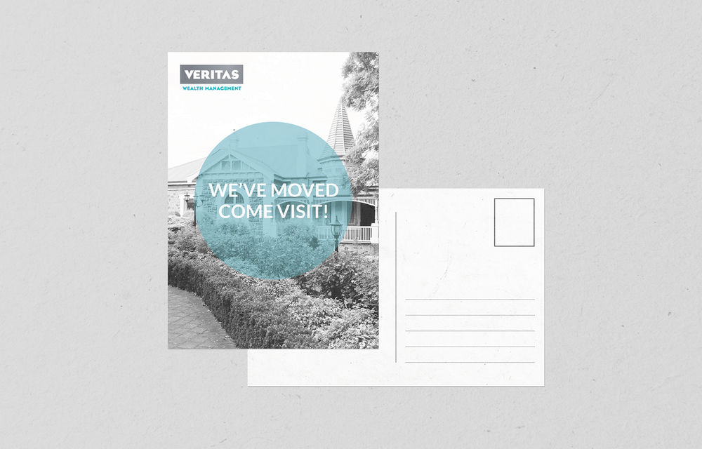 Veritas Wealth Management custom postcard design | Gorjo Designs