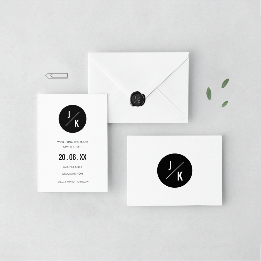 Monochrome circle save the dates