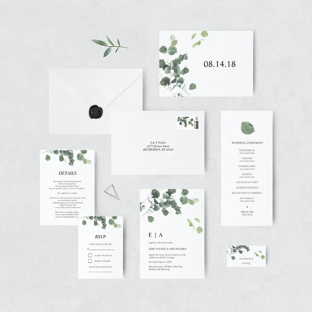 Watercolor leaves invitation suite