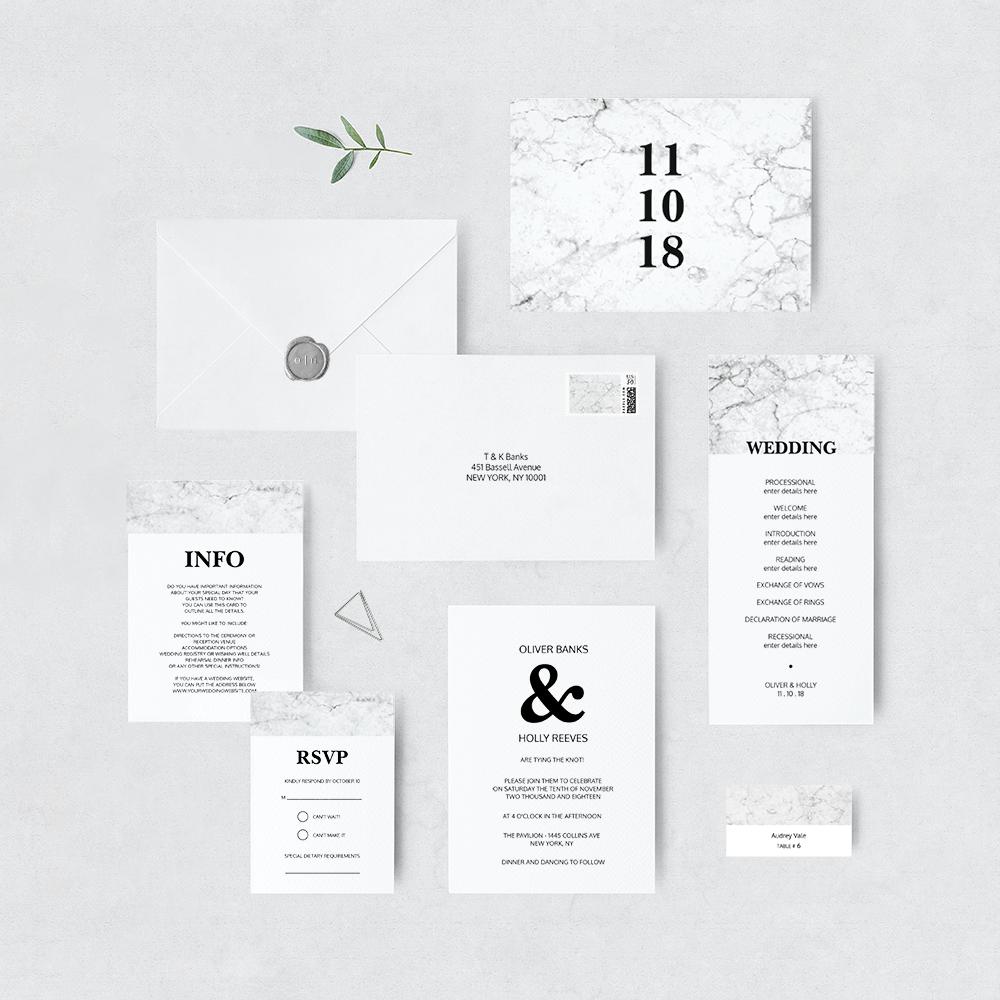 Modern marble invitation suite