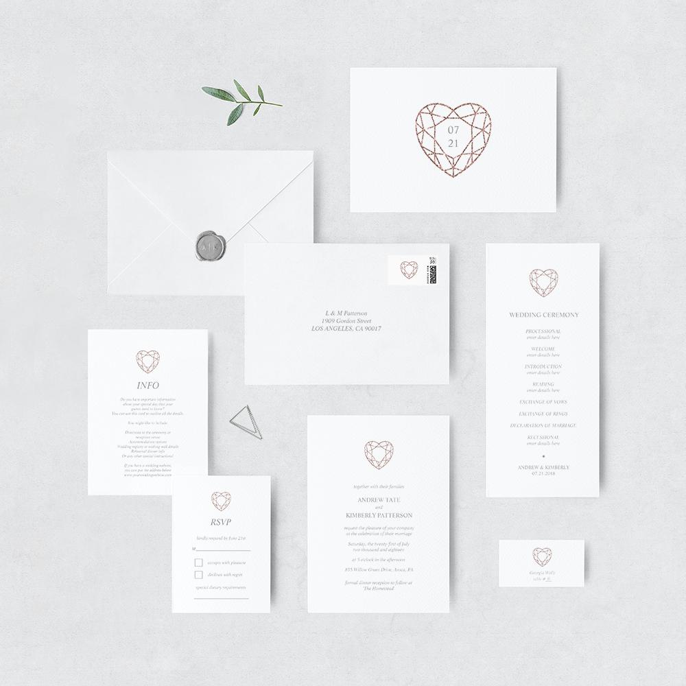 Rose gold heart invitation suite