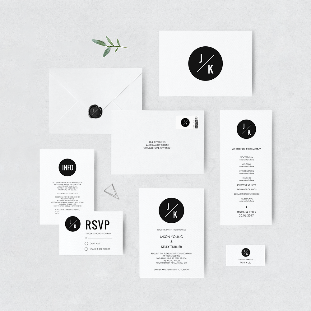 Monochrome circle invitation suite