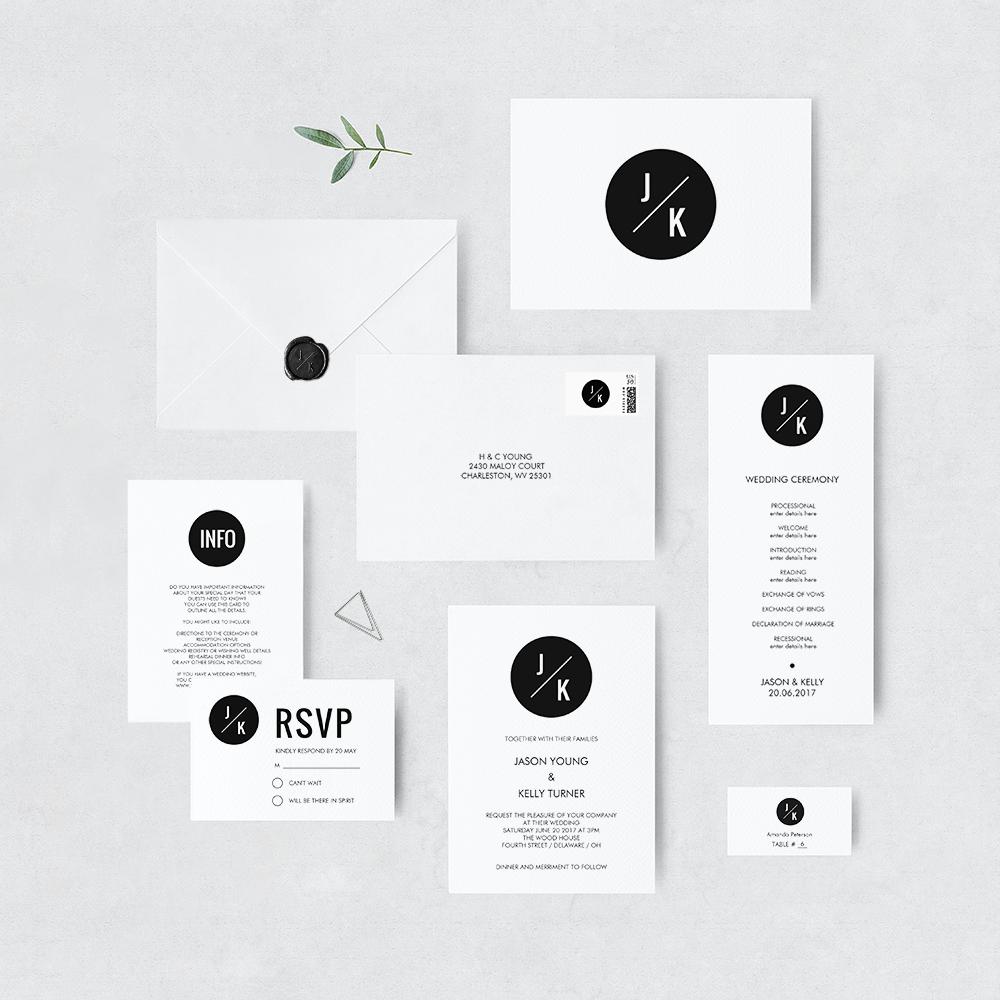 Monochrome circle invitation suite