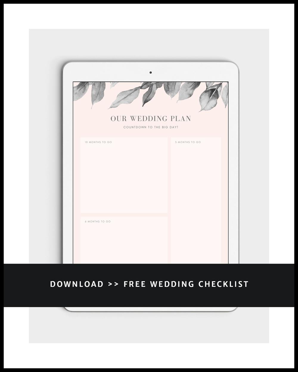 iPad mockup with elegant minimalist pink grey leaves wedding checklist - our wedding plan, countdown to the big day - download the free wedding checklist